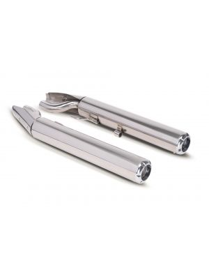 2x CUSTOM RACING Slip On L/R and selectable endcaps, stainless steel chrome, NO (EC-) APPROVAL